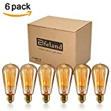 Vintage Light Bulb, Elfeland Antique Incandescent Edison Bulb 40w Squirrel Cage Filament Retro Light Bulb ST58 Dimmable E26/E27 Medium Base (6 Pack)
