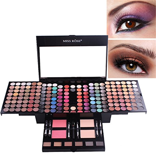 FantasyDay Pro 180 Colors All In One Ultimate Color Eyeshadows Makeup Kit Cosmetic Contouring Palette Combination with 2 Face Powder, 2 Blusher, 6 Repair powder and Makeup Brushes