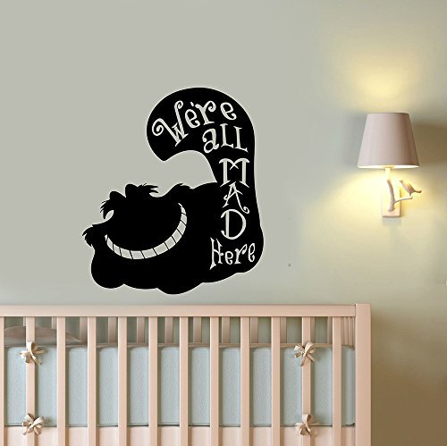Cheshire Cat We are All Mad Here Quote Removable Wall Decal Vinyl Sticker Alice in Wonderland Art Decorations for Home Housewares Bedroom Kids Teen Girls Room Cartoon Decor -