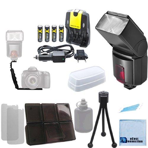 Pro Series Digital DSLR Dedicated Flash AF Flash for Nikon DSLR Cameras, Angle Flash Bracket, 180 Degree Rotating Bracket, AA Rechargeable Batteries, Charger & eCostConnection Kit