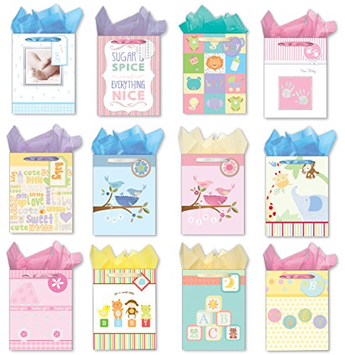 Gift Bags for Baby Shower 12 Medium Gift Bags Set of Paper Gift Bags with Handles, Packing Tissue Paper, and Baby Shower Gift (Baby Shower Gift Bags)