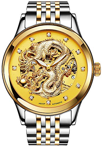 (PASOY Mens Dragon Collection Gold Watch Stainless Steel Automatic Waterproof Sapphire Skeleton Watches)
