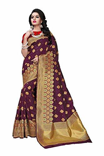 Wedding Facioun Sarees Purple Da Wear 4 Sari Indian Traditional Party for Women Designer dW1FXF4