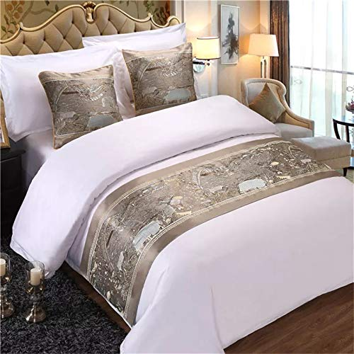 Bed Runner Bed Scarf Hotel Solid Color Linen Bed Scarf Simple Bed Flag Bedside Plain Bed end Bed Decorative Strips, Brown Clear on The River map, Hug Pillowcase 1 (Scarves Pillows Bed Matching And)