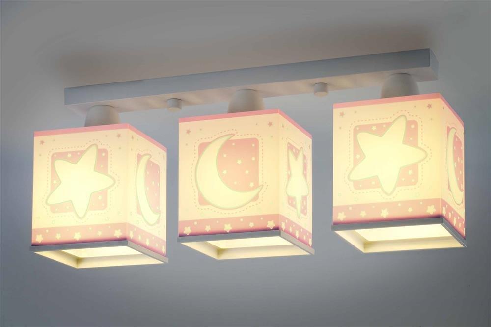 Kinderzimmer-Lampe Sterne Mond Decken-Lampe 63233s mit LED RGB-CCT 1100 Lumen Nacht-Leuchtend Rosa Mädchen