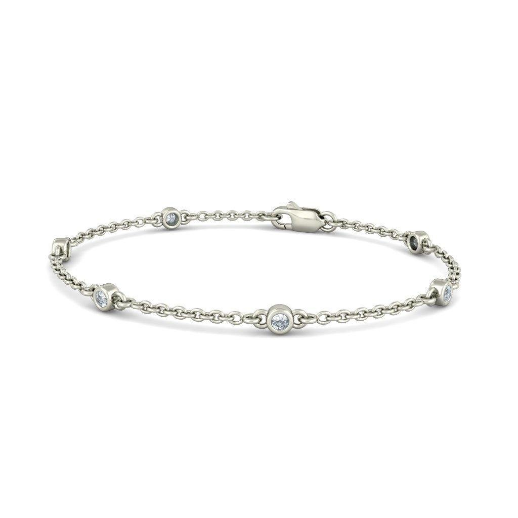 identification-bracelets Size IJ| SI 18K White Gold 0.414 cttw Round-Cut-Diamond 6.25 inches