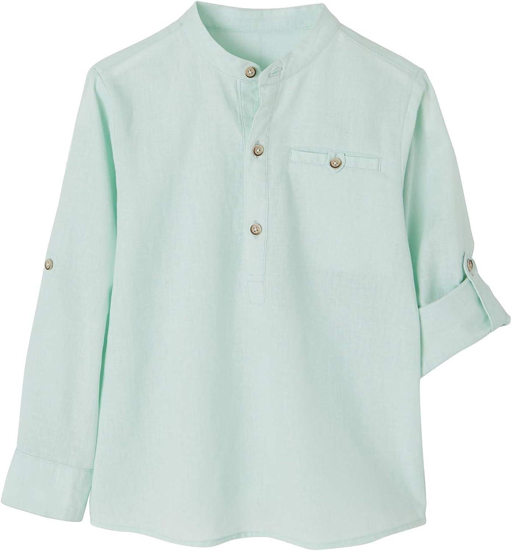 VERTBAUDET Camisa de Lino/algodón para niño con Cuello Mao, de Manga Larga Verde Claro Liso 6A: Amazon.es: Ropa y accesorios