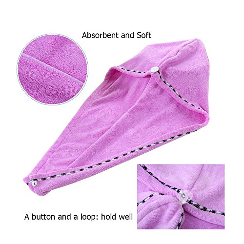 3 Pack Microfiber Hair Towel Wrap BEoffer Super Absorbent Twist Turban Fast Drying Hair Caps with Buttons Bath Loop Fasten Salon Dry Hair Hat Pink Blue Purple by BEoffer (Image #1)