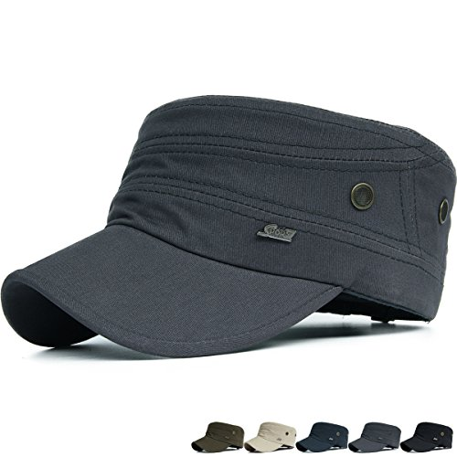 - Rayna Fashion Unisex Adult Cadet Caps Military Hats Sport Studs Vented Eyelets Gray