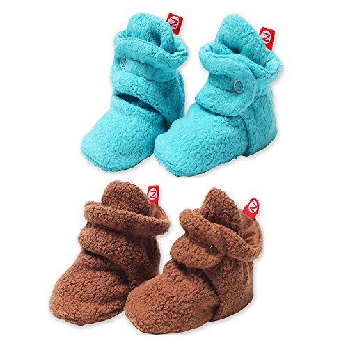 2 Pack Zutano Booties Unisex Fleece Slipper Socks Chocolate and Pool - 12M