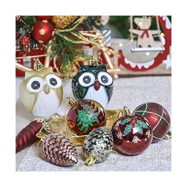 Valery Madelyn Palle di Natale 90 Pezzi di Palline di Natale, 3-13 cm di Strada di Campagna Rosso Verde e Oro Infrangibile Ornamenti di Palla di Natale Decorazione per la Decorazione 7 spesavip