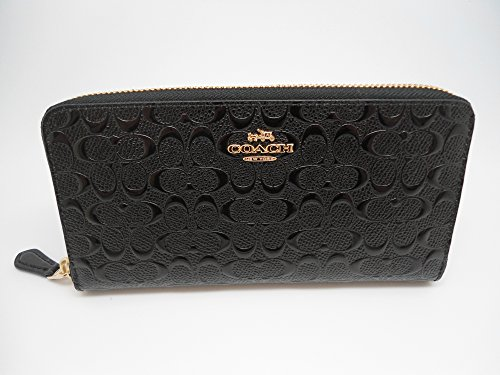 Coach Accordion Zip Wallet in Signature Debossed Patent Leather - F54805 (Black)