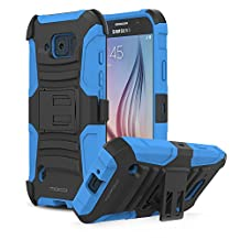 Galaxy S6 Active Case, MoKo Shock Absorbing Hard Cover Ultra Protective Heavy Duty Case with Holster Belt Clip + Built-in Kickstand for Samsung Galaxy S6 Active 5.1 Inch (2015) - Blue