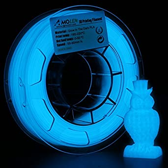 AMOLEN Impresora 3D Filamento PLA 1.75mm, Glow in the Dark Azul ...