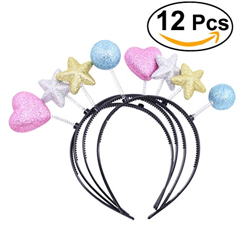 NUOLUX 12pcs Cute Headband Heart Star Ball Shaped Head boppers Sparkle Glitter Hair Accessories for Party(Assorted (Headband Boppers)