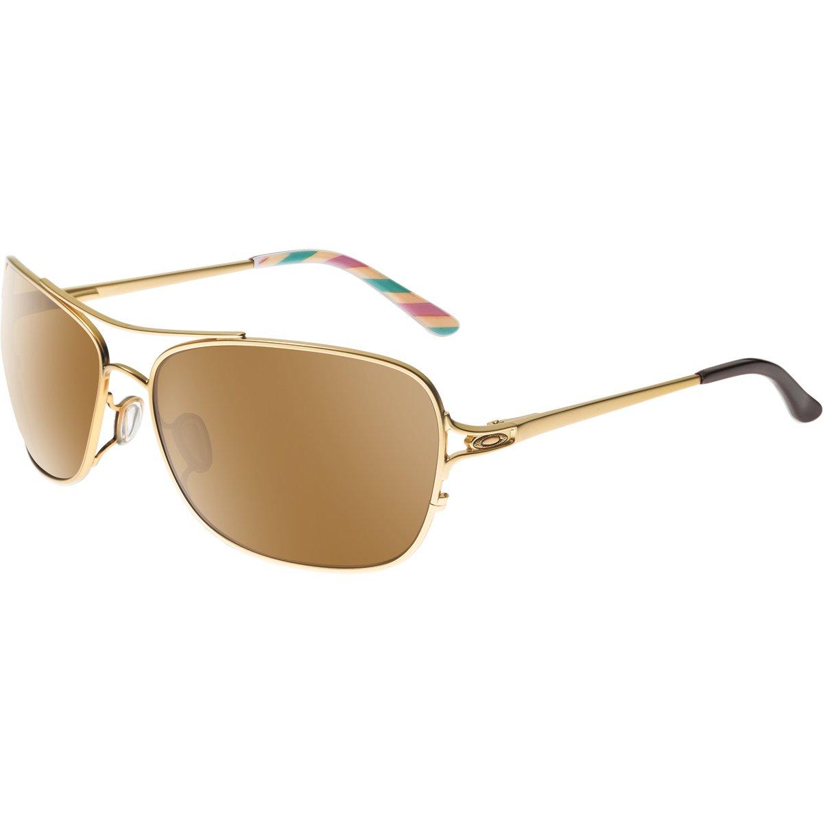Oakley Women's OO4101 Conquest Aviator Steel Sunglasses, Satin Gold/Tungsten Iridium, 59 mm by Oakley