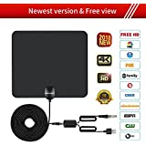 HDTV ANTENNA,Updated 2018 Newest Version 50 Miles Long Range Support Indoor 1080P/4K Digital TV Hd Antenna,Detachable Amplifier Signal Booster,ANCROWN 16.5 FT High Performance Coaxial Cable