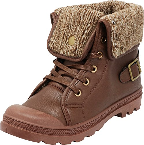 Cambridge Select Women's Closed Round Toe Sweater Knit Fold Over Lug Sole Combat Ankle Bootie,8 B(M) US,Brown