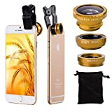 Gold Lens Kit (3 in 1) 180 Degree Universal Clips on Lenses Kit (SILVER) Fish Eye Lens + Wide Angle + Micro Lens Kit, Universal Clip Mini Lens Kit Barlow and Polarizer lens For iPhone 6s 6 5 5C 4S ,iPod , iPad , Samsung Galaxy A5/ A3 Core Prime Sony Xperia M4 aqua/E4g HUAWEI Y3 Y625 Ascend G620S/ G620/Y520/Y221/G730 / Y600 MATE 7 MINI, HUAWEI MATE 7 Compact blackberry leap