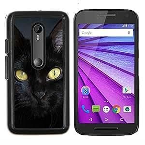 Caucho caso de Shell duro de la cubierta de accesorios de protecci¨®n BY RAYDREAMMM - Motorola MOTO G3 3rd Gen - Raza del gato de Bombay Chartreux Negro