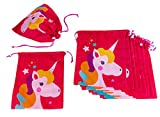 Drawstring Bags - 12-Pack Party Favor Bag for Kids Birthday, Baby Shower - Giveaway Gift Bags, Goodie Bags, Treat Bags Party Supplies for Boys and Girls, Pink Unicorn, 10 x 12 inches
