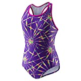 Speedo Girls Solid Infinity Splice Swimsuit, Purple Spark, 6