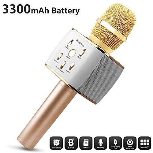3300mAh Wireless Karaoke Microphone with Bluetooth Hi-Fi Speaker - Singing,Recording,Speaking,Listening Anywhere with Smart Phone,Portable Vocal Gift for Singer Kids Girls Boys Holidays Outdoors Party