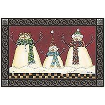 """Primitive Snowman Winter Doormat Seasonal Indoor Outdoor 18"""" x 30"""" MatMates"""