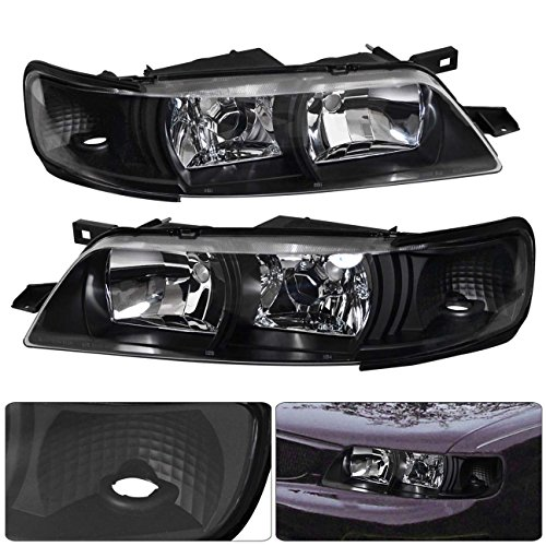 AJP Distributors For Nissan Maxima A32 SE GLE GXE JDM Headlights Lamps R34 1 Piece Style 1995 1996 1997 1998 1999 95 96 97 98 99 (Black Housing Clear Lens Clear Reflector) 1999 Nissan Maxima Gle