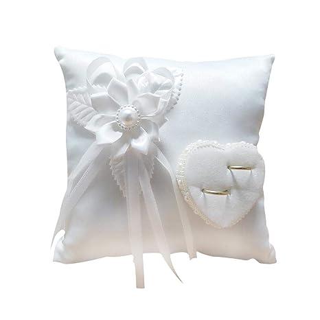Anillo de bodas Almohada Crema Almohada agraciada -Romántico con estilo cuadrado Anillo de flores Camelia Cojín en forma de corazón Suministros de ...