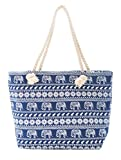 Navy Elephant Pattern Beach Tote Bag