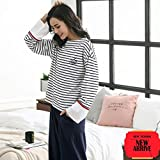 Sleepsuits Women's Cotton Long-Sleeved Pajamas Spring and Autumn Loose White can be Worn Outside Home Service Suits (Size : XL) for You (Size : Medium)