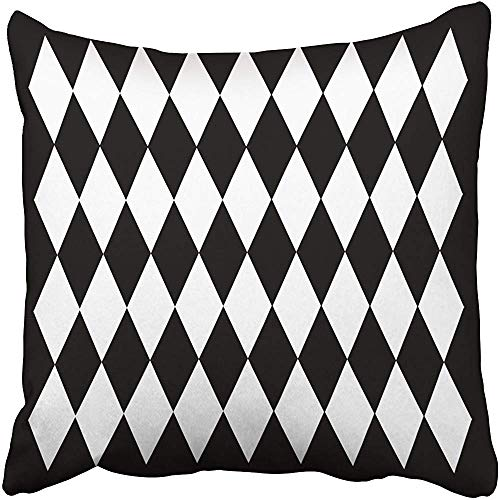 Harlequin Design Black and White Collection Decorative Throw Pillow Case 18 x 18 Inch,Home Decoration Pillowcase Zippered Pillow Covers Cushion Cover with Words for Book Lover Worm Sofa Couch