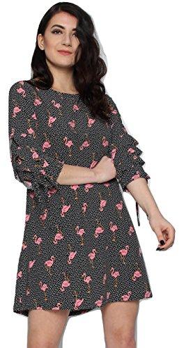 Momo&Ayat Fashions Ladies Polka Dot Flamingo Shift Dress UK Size 8-14 (Black, M/L (UK 12-14)) from Momo&Ayat Fashions