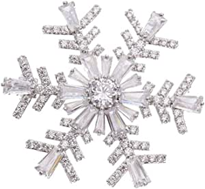 CZ Snowflake Brooches for Women Girls Men Fashion Dainty Rhinestone Crystal Silvery Brooch Lapel Pin Dress Suit Asscessories Jewelry Christmas Winnter Party Unisex Gifts