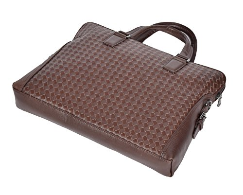 Echtes Leder Aktenkoffer Organisator Kreuzkörper Schulranzen Laptop Tasche HLG046 Braun