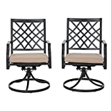 PHI VILLA Outdoor Patio Swivel Chair for Garden Backyard Furniture 2 Pcs Sets