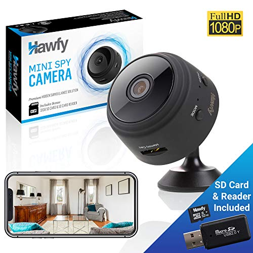 Hawfy Mini HD Wireless Hidden Camera - Magnetic Feature for Easy Installation with SD Card and Reader - Smart Motion Detection, Night Vision Spy Cam - Mini Spy Camera (Black)