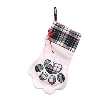 SPFAZJ Decoraciones Navidad Medias Creativo Perro Patas Navidad Calcetines de Navidad Decorar Fuentes Ri de Bolsos Calcetines Piezas: Amazon.es: Jardín