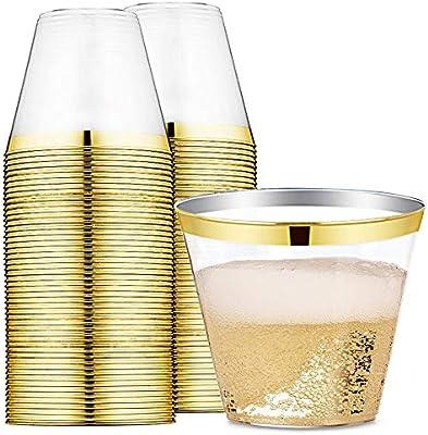 Amazon 9 Oz Gold Rimmed Plastic Cups Clear Plastic Tumblers