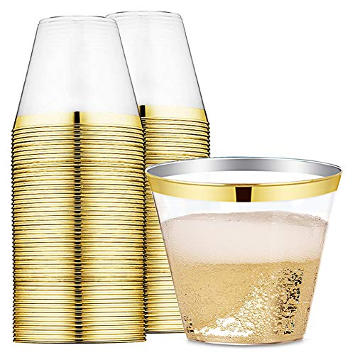 - 9 oz Gold Rimmed Plastic Cups Clear Plastic Tumblers - Disposable Hard Party Wedding Plastic Cups 60 Pack (Gold Cups)