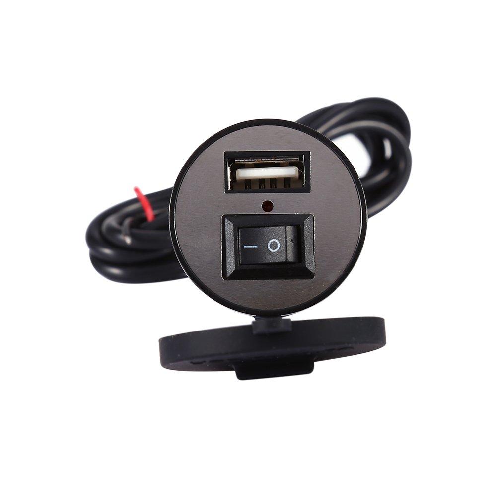 Caricabatterie per veicolo elettrico 12V con interruttore, presa per adattatore di alimentazione per caricabatterie GPS per smartphone smart per moto - Impermeabile da 12V a 5V 1.5A Keenso