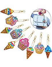 9 Pieces 5D Diamond Painting Keychain Kit, Ice Cream Diamond Painting Pendant DIY Full Drill Diamond Painting Kit for Art Craft Key Ring Phone Charm Bag Decor, 2 Styles