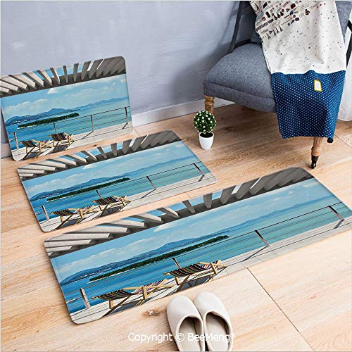 3 Piece Indoor Modern Anti-Skid Carpet Printed Block Bathroom Carpet,Beach Theme Decor,Modern Tile Roof Top House with Garden and Sea View Image,Brown White Green and Blue,20x31/20x59/28x55 inch