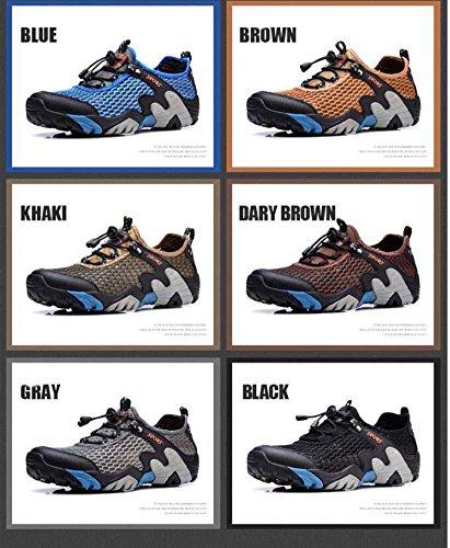 Onfly Bomba Malla Hilado de red Zapatos deportivos Zapatos casuales Hombres Respirable Color puro Punta redonda Halar Cordon de zapato Antideslizante Snekers Al aire libre Zapatos de escalada Zapatos  Blue