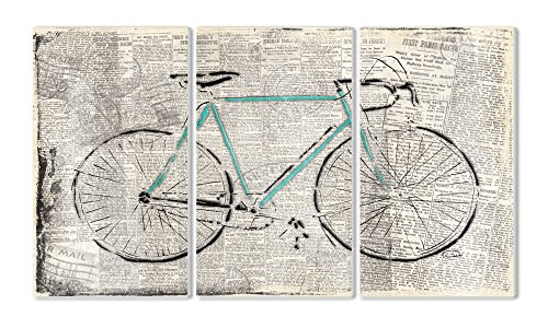 Stupell Home Décor Bicycle On Newsprint 3-Piece Triptych Wall Plaque Set, 11 x 0.5 x 17, Proudly Made in USA