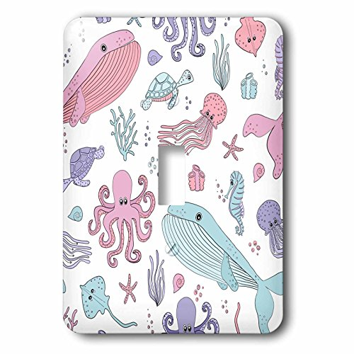 3dRose Janna Salak Designs Under the Sea - Cute Paste Sea Creatures - Light Switch Covers - single toggle switch (lsp_283555_1)