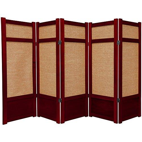 Oriental Furniture 4 ft. Tall Low Jute Shoji Screen - 5 Panel - Rosewood ()