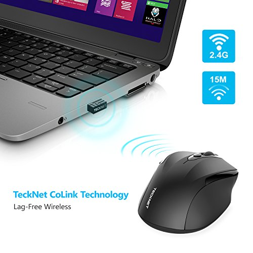 TeckNet Pro 2.4G Ergonomic Wireless Mobile Optical Mouse with USB Nano Receiver for Laptop,PC,Computer,Chromebook,Macbook,Notebook,6 Buttons,24 Months Battery Life,5 DPI Adjustment Levels by TECKNET (Image #3)