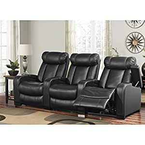 Larson leather reclining home theater seating 3 piece set kitchen dining Home theater furniture amazon